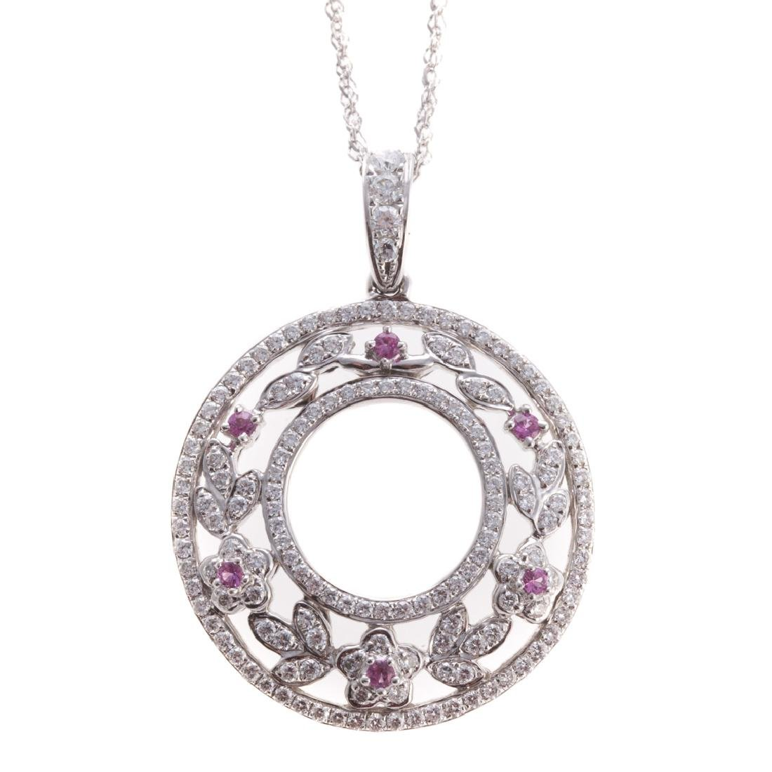 A Diamond & Pink Sapphire Pendant by C. Krypell