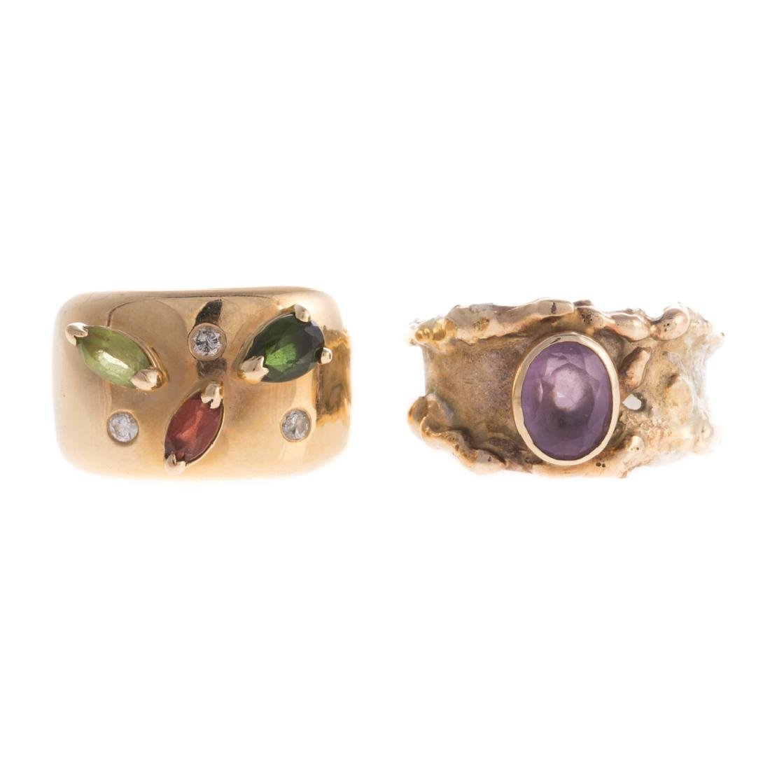 A Pair of Lady's Wide Gemstone Bands