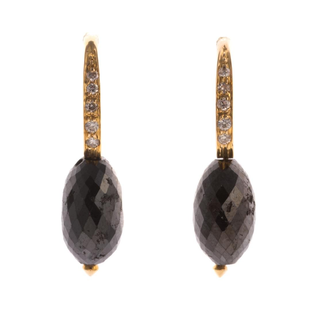 A Pair of Lady's Black Diamond Earrings in 18K