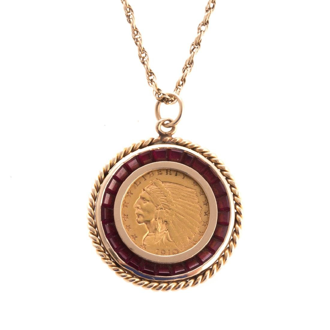$2.50 Indian Head Gold Coin Pendant Necklace