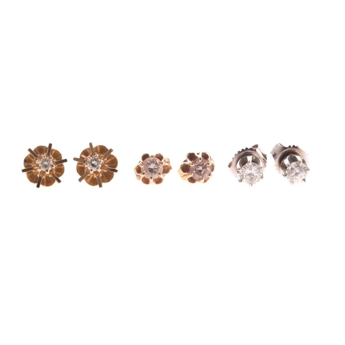 Three Pair of Diamond Ear Studs in 14K Gold