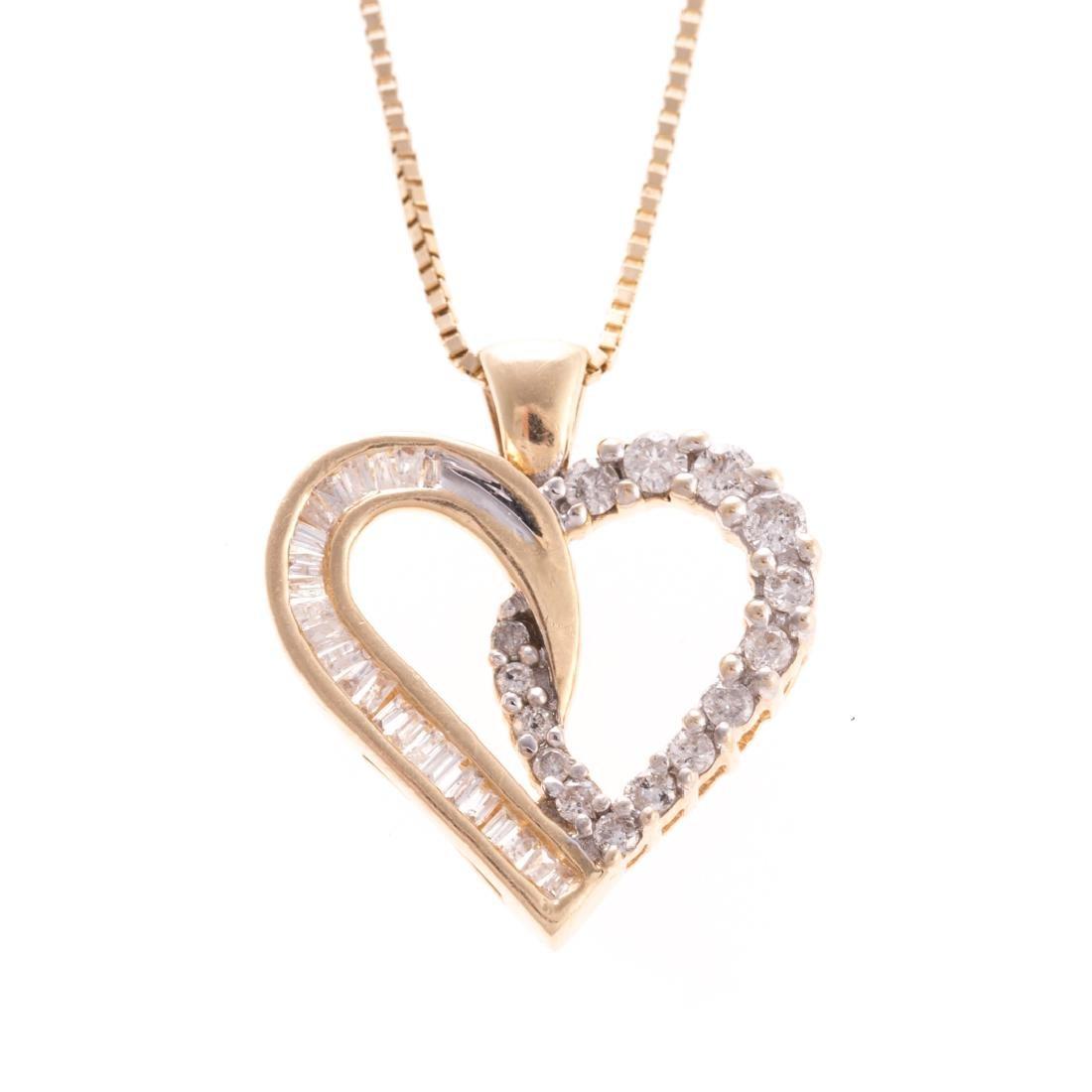 A Lady's Open Heart Diamond Pendant in Gold