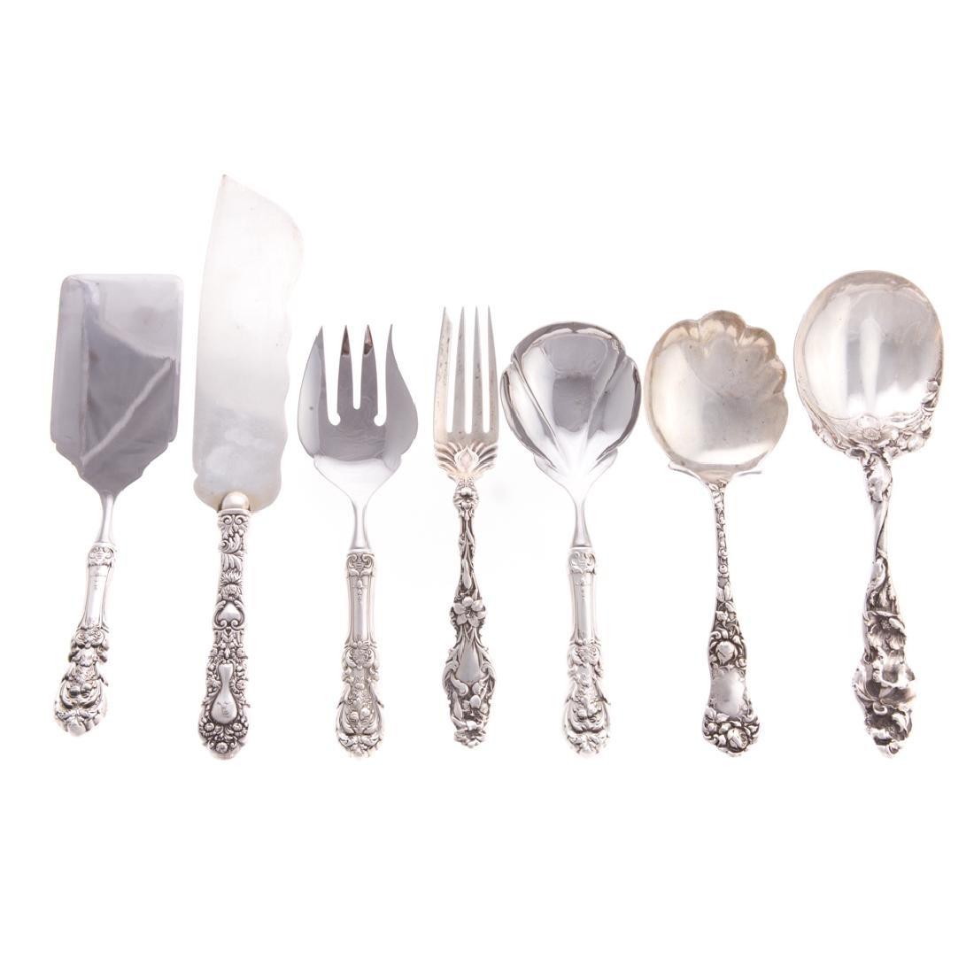 Seven American sterling flatware serving pieces