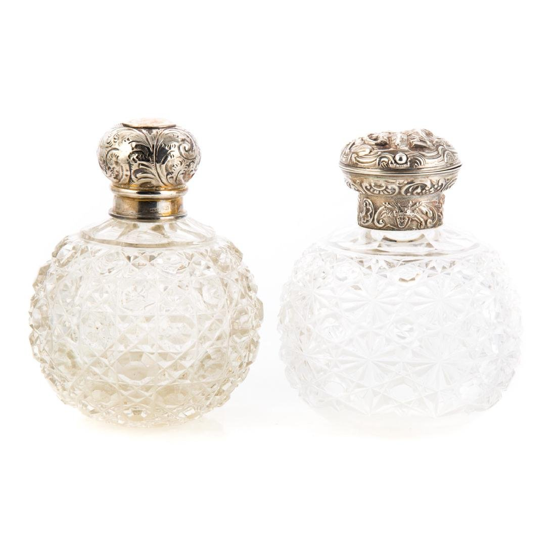 Two Continental cut glass & silver scent bottles