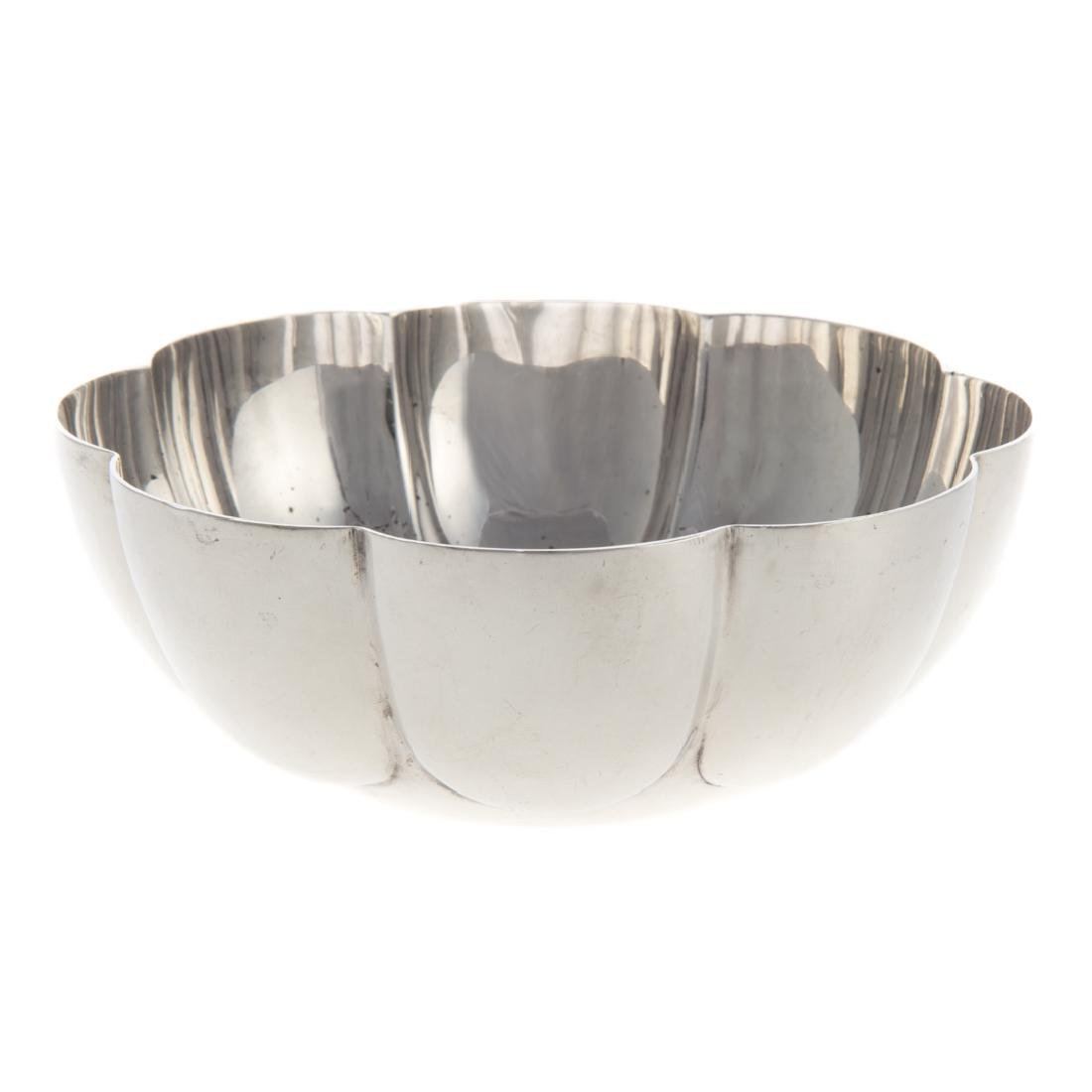 English Art Deco sterling silver lobed bowl