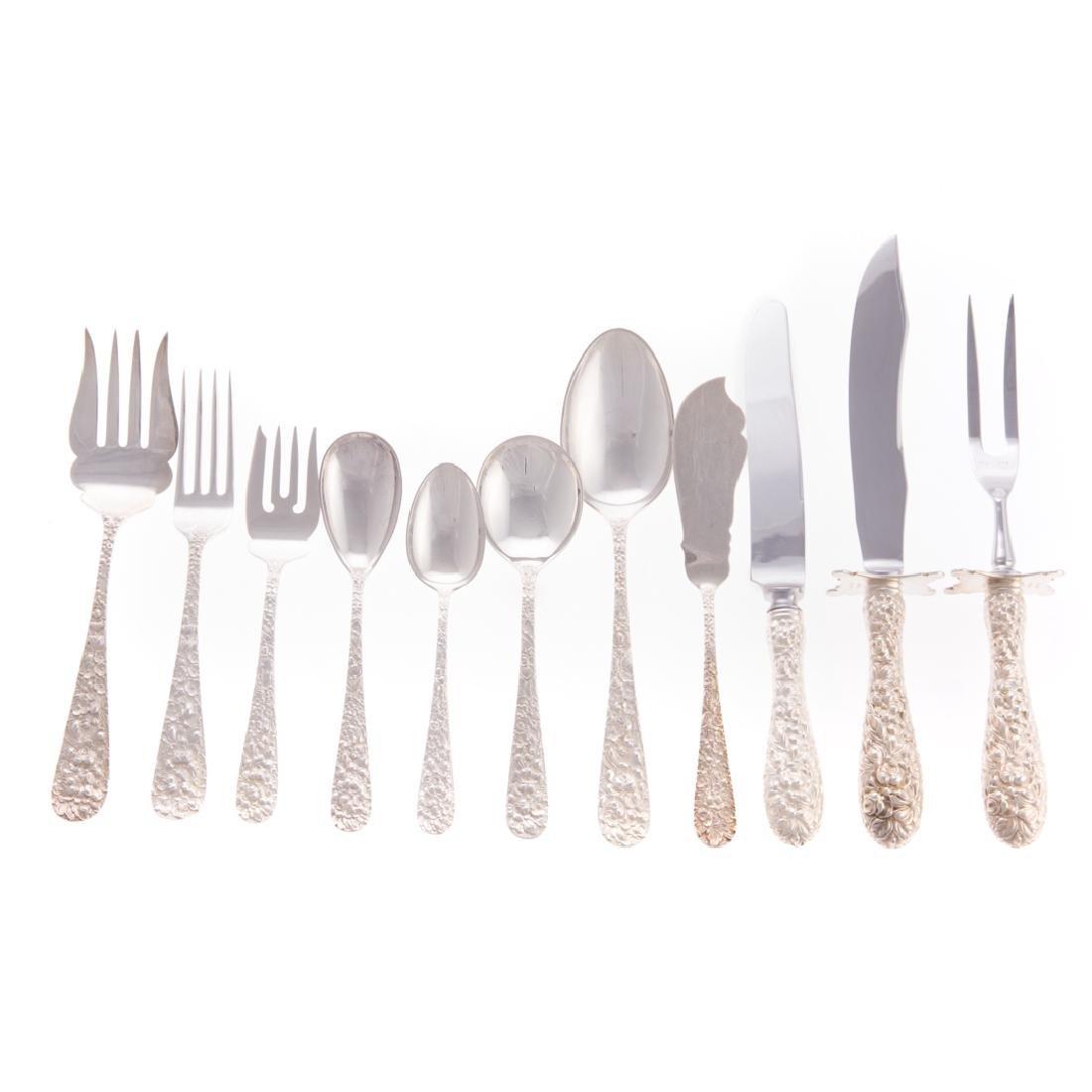 """Stieff """"Rose"""" sterling silver 49-piece flatware"""