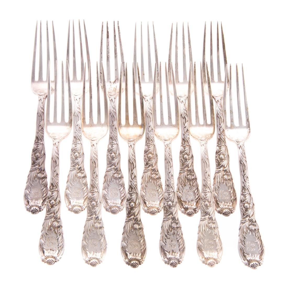 "12 Tiffany ""Chrysanthemum"" sterling dessert forks"