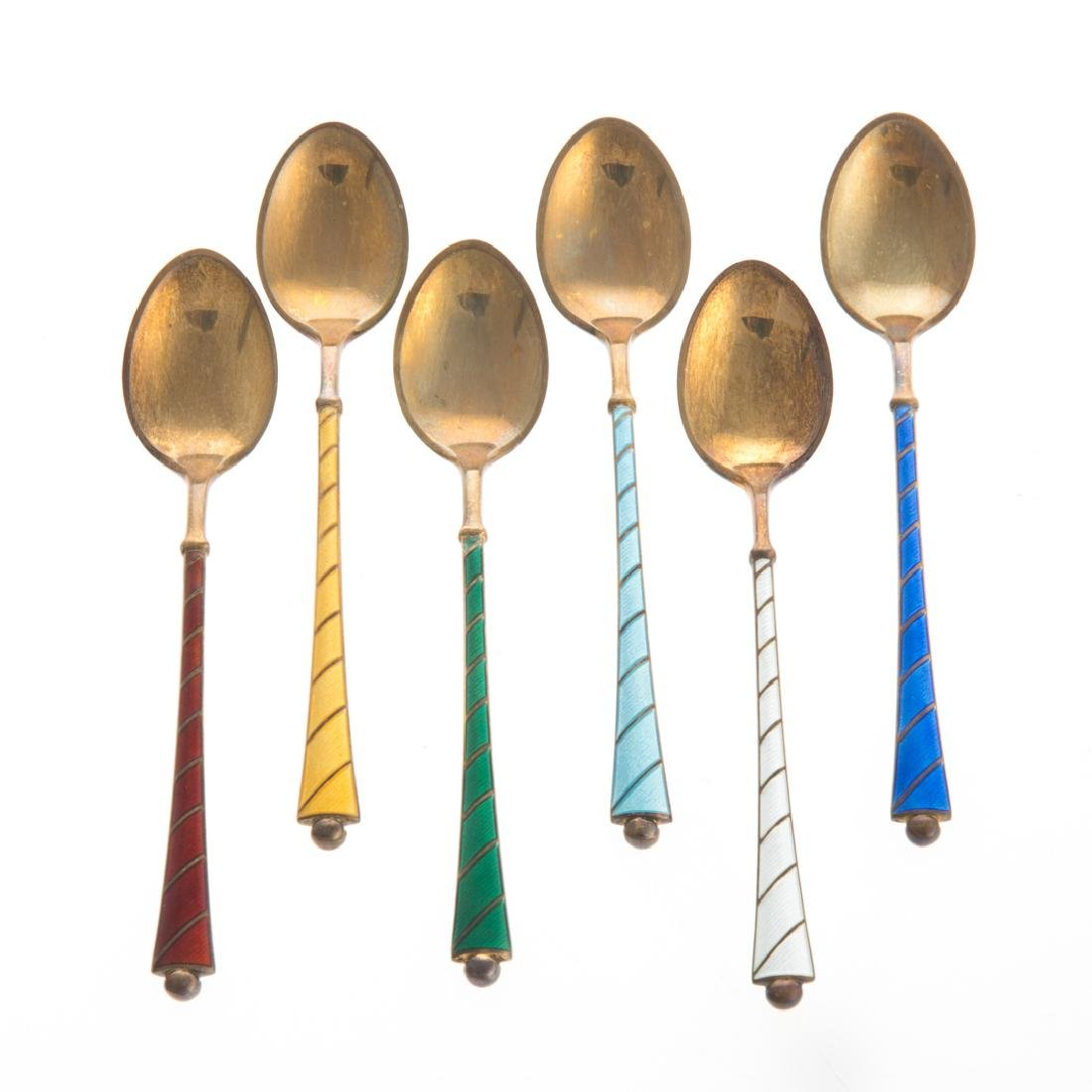 Ela Denmark enameled sterling demitasse spoons