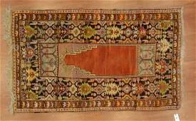 Semi-antique Milas prayer rug, approx. 3.6 x 5.10
