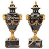 Pair Louis XVI style ormolumounted marble urns