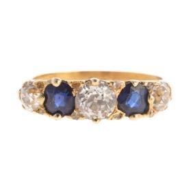 A Victorian Sapphire & Diamond Ring In 18K