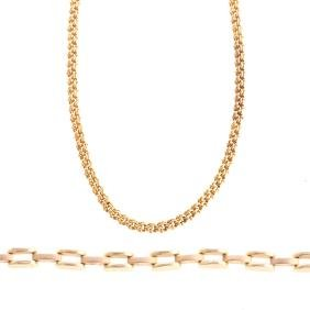 A Lady's Gold Bracelet And Chain Necklace