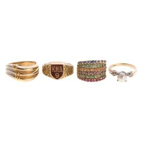 A Collection Of Lady's Gold Gemstone Rings