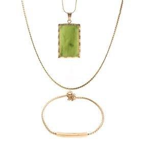 A Trio Of 14K Gold Chain Jewelry