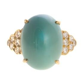 A Lady's 18K Turquoise & Diamond Ring