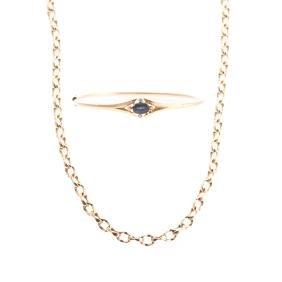 A Lady's Gold Chain & Sapphire Bangle Bracelet