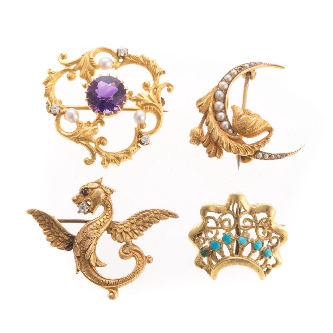 Four Art Nouveau Pins in 14K Gold