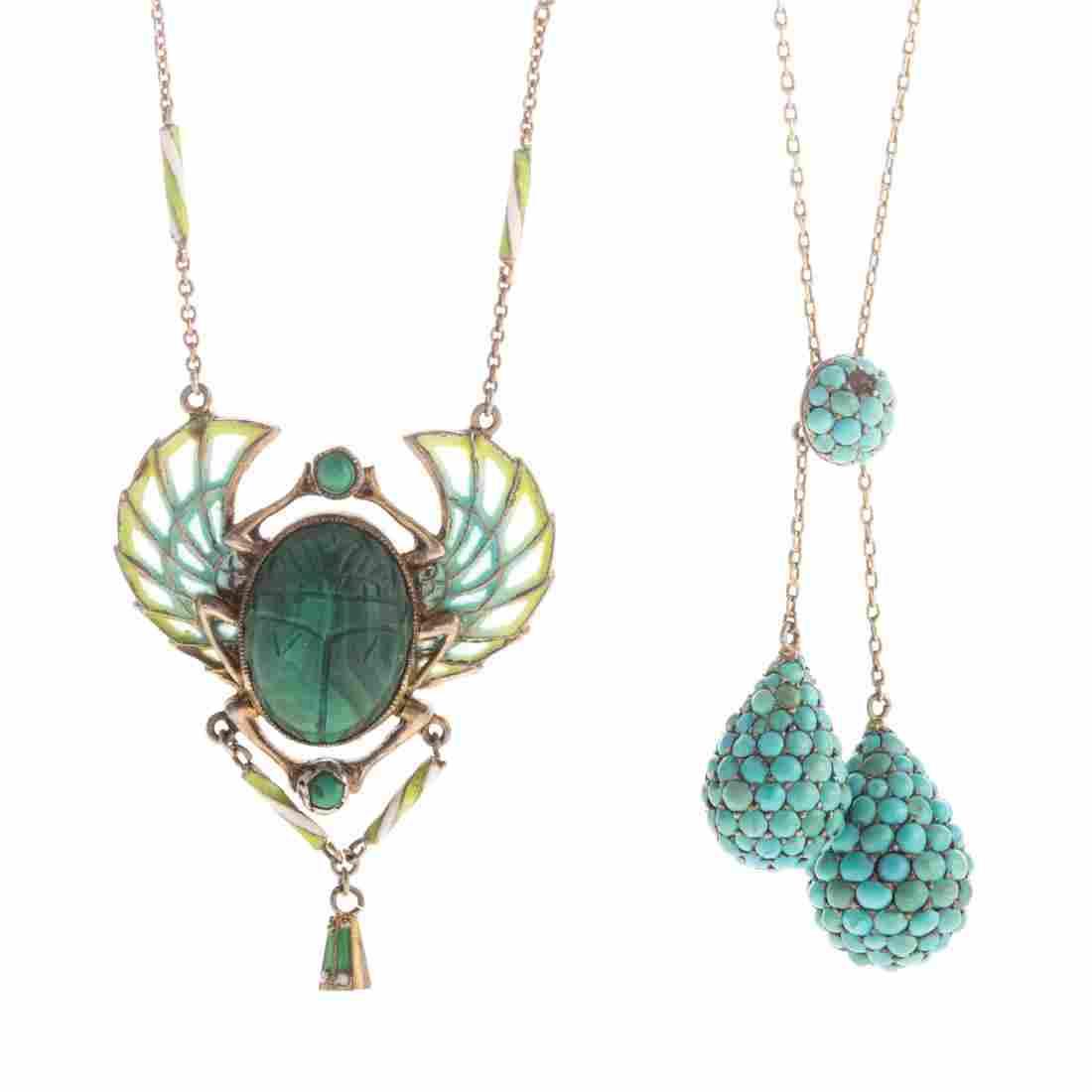 An Art Nouveau Necklace & Turquoise Lariat