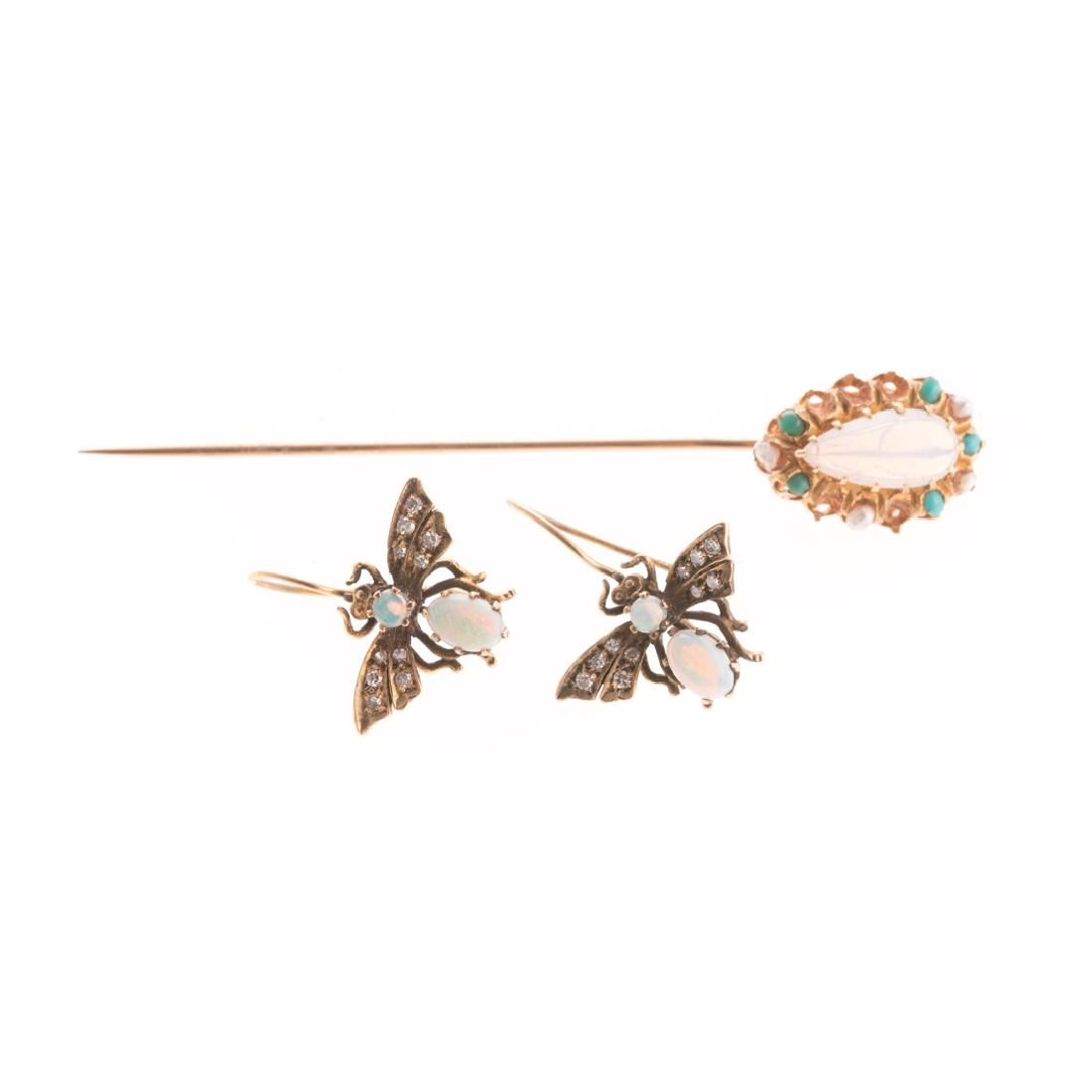 A Pair of Vintage Earrings & Stick Pin with Opals