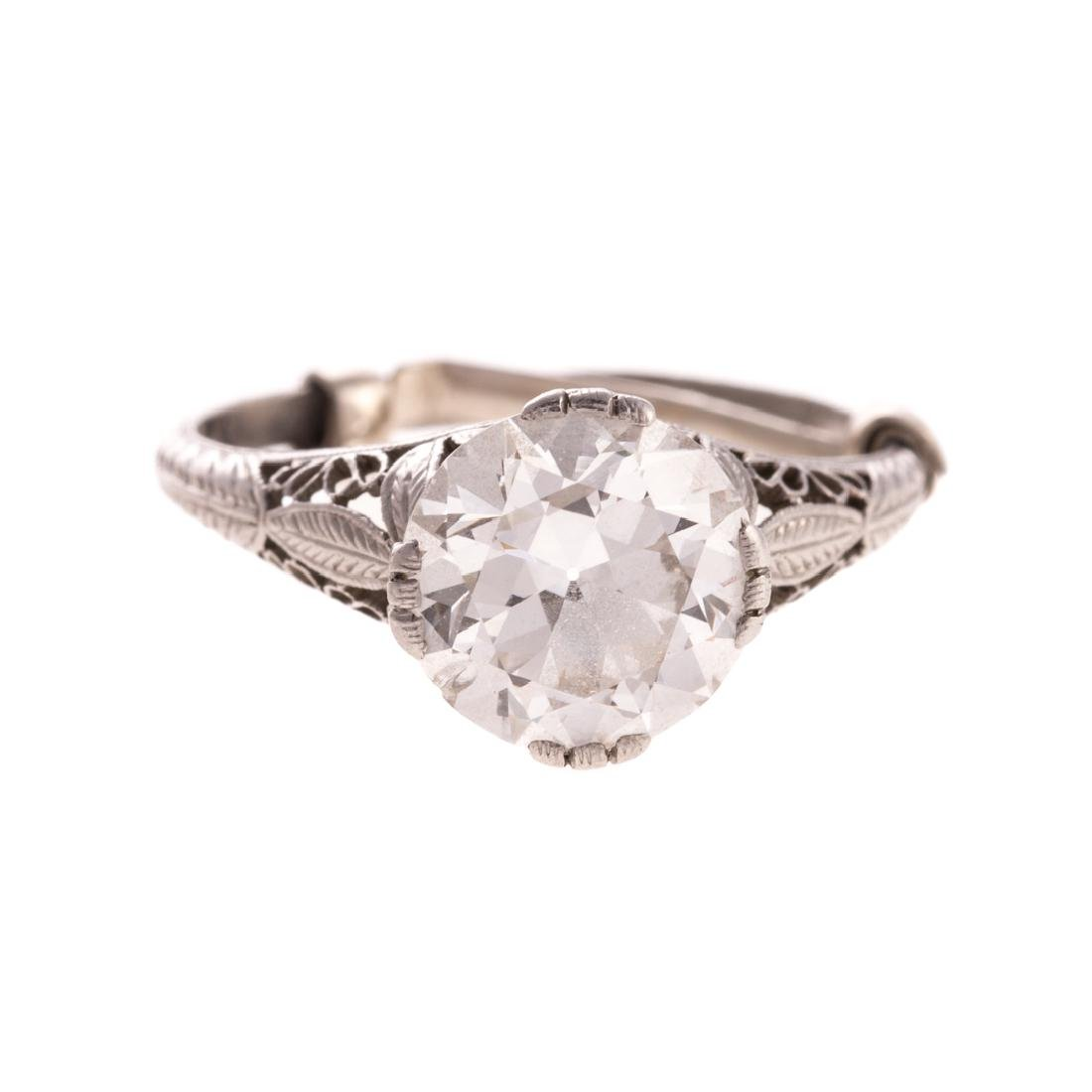 A Lady's 2.70 cts. Diamond Solitaire Filigree Ring