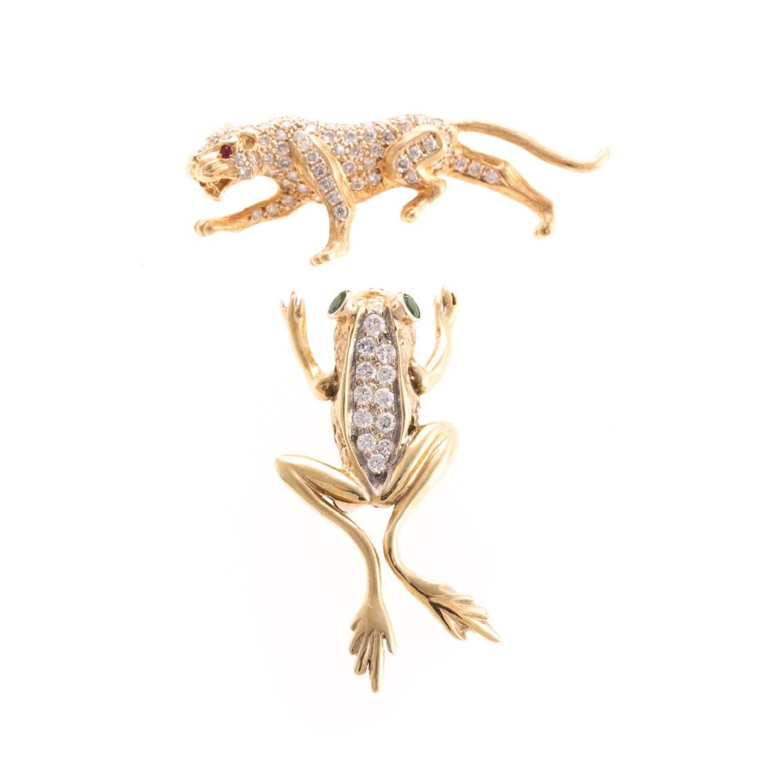 Two Lady's Animal Pins in Diamonds & Gold