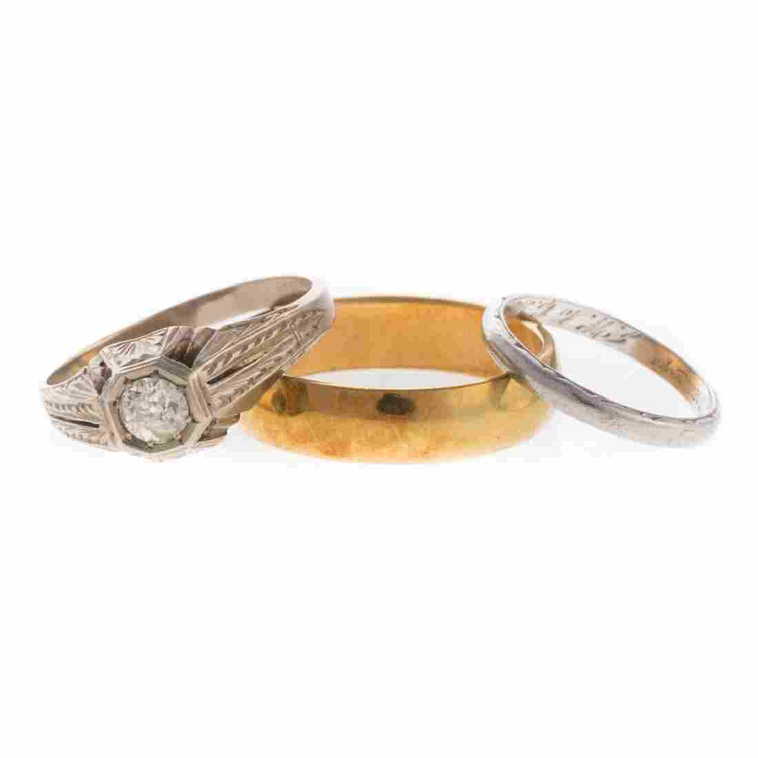 A Vintage Diamond Ring & Two Wedding Bands