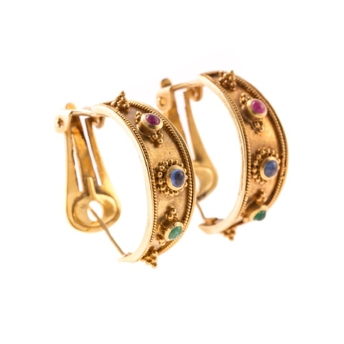 A Pair of 18K Gold and Multi-Color Stone Earrings