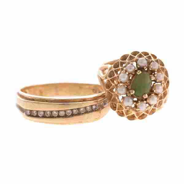 Gent's Diamond Band & Lady's Gemstone Ring in 14K