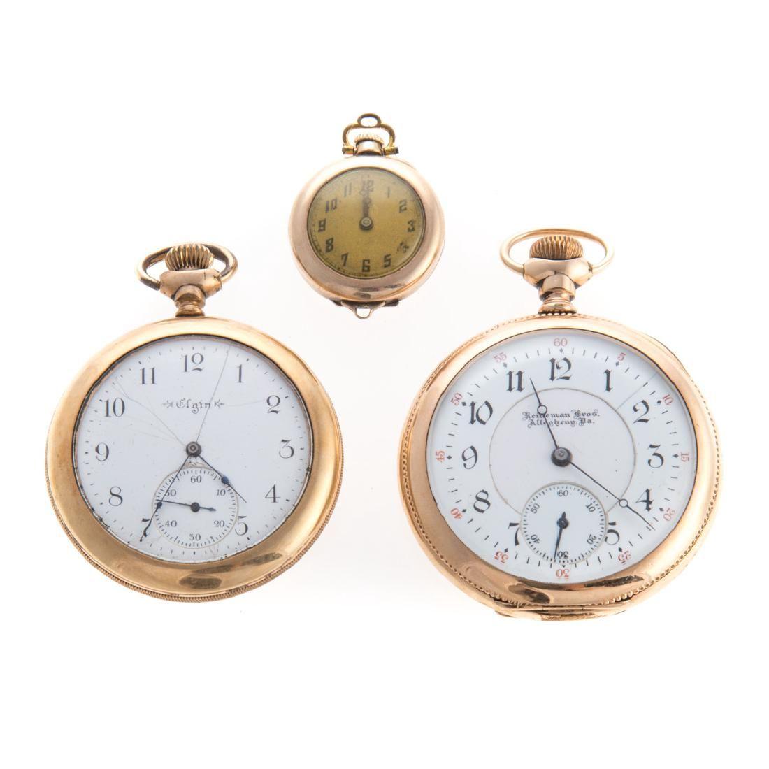 A Trio of Pocket Watches featuring Reineman Bros