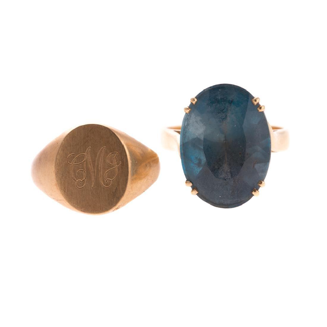 A Pair of Lady's Gemstone & Signet Rings