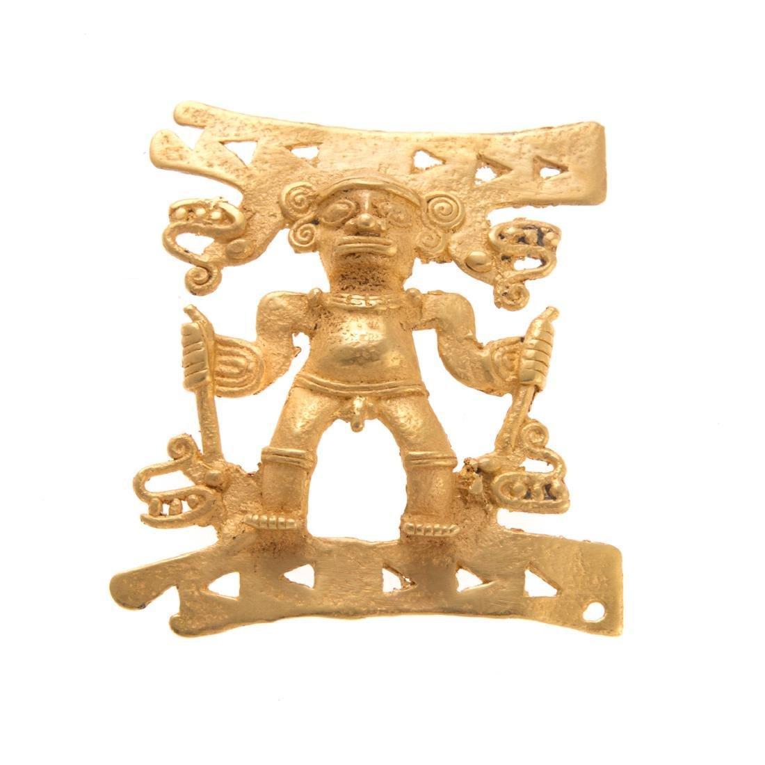 A Pre-Columbian Man Pendant, 22K, 68.2 grams