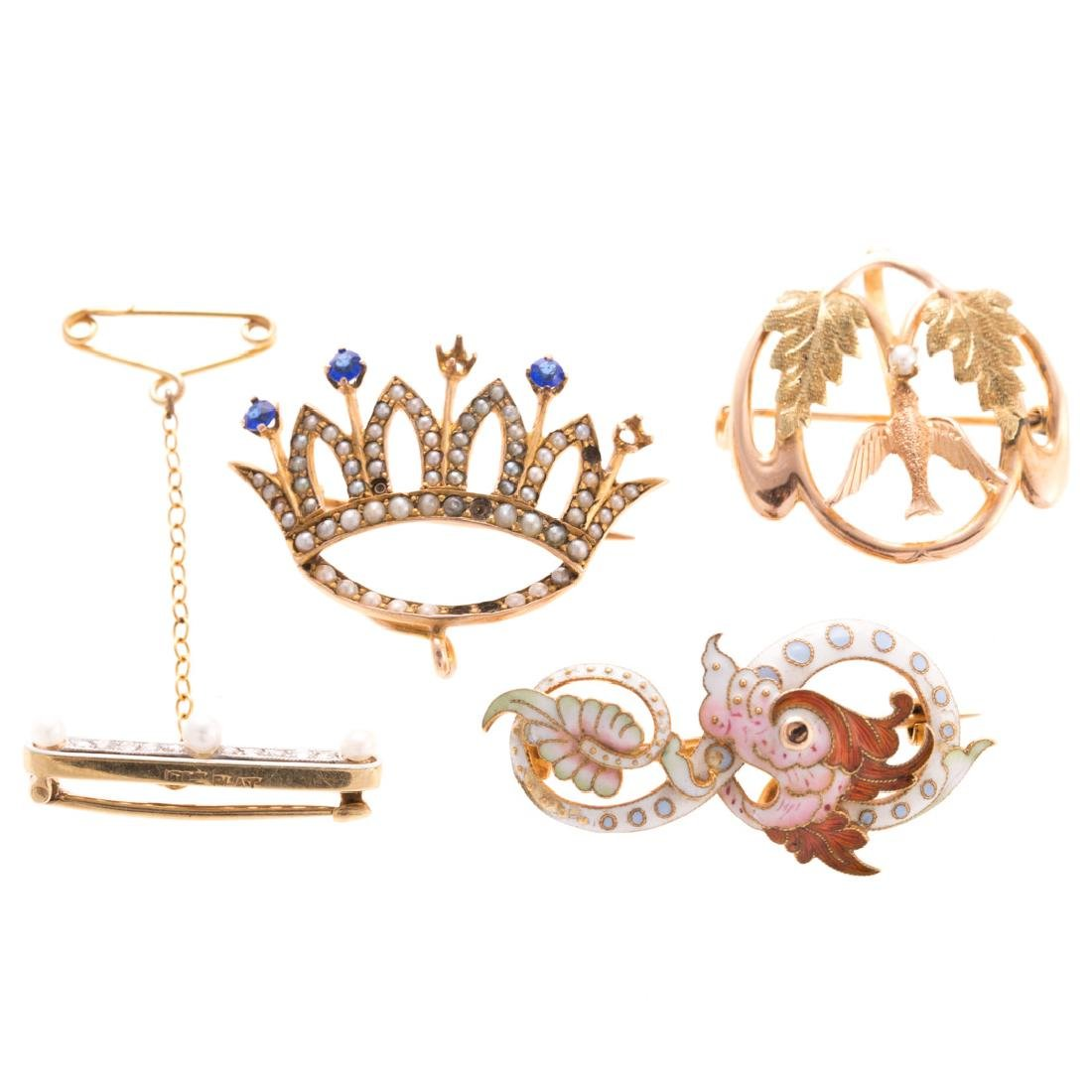 Four Lady's Victorian Brooches in Gold