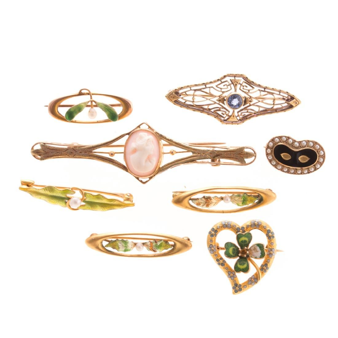 A Collection of 8 Victorian Enamel Pins