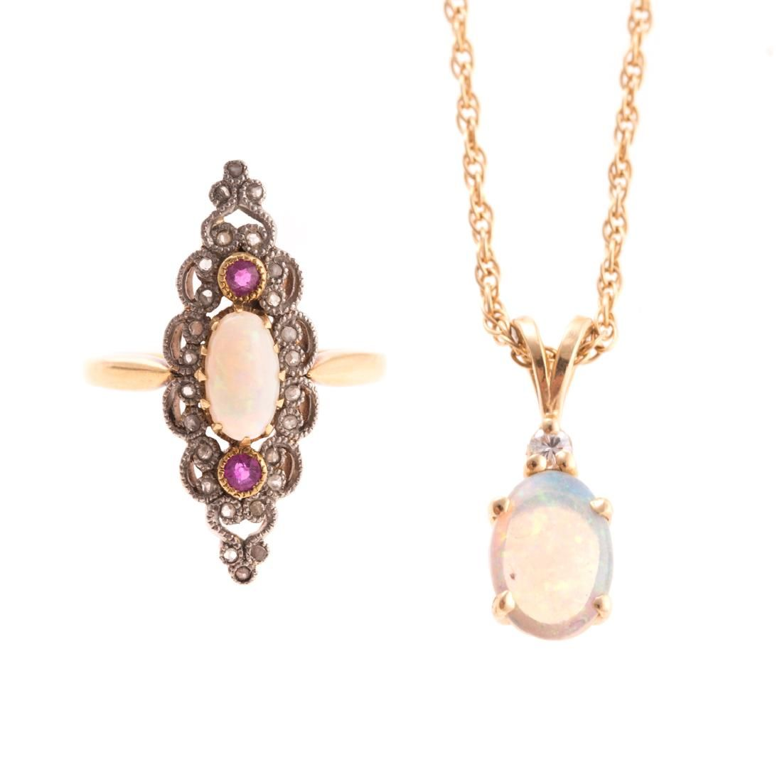 A Lady's 14K Opal & Diamond Ring and Pendant