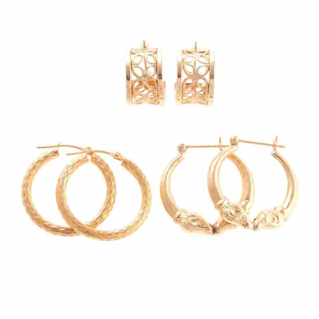 A Trio of Lady's 14K Gold Hoop Earrings