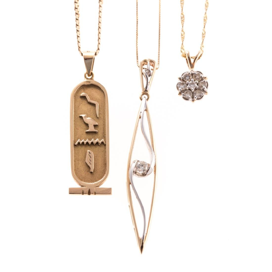 A Trio of Lady's Necklaces in 14K & 10K Gold