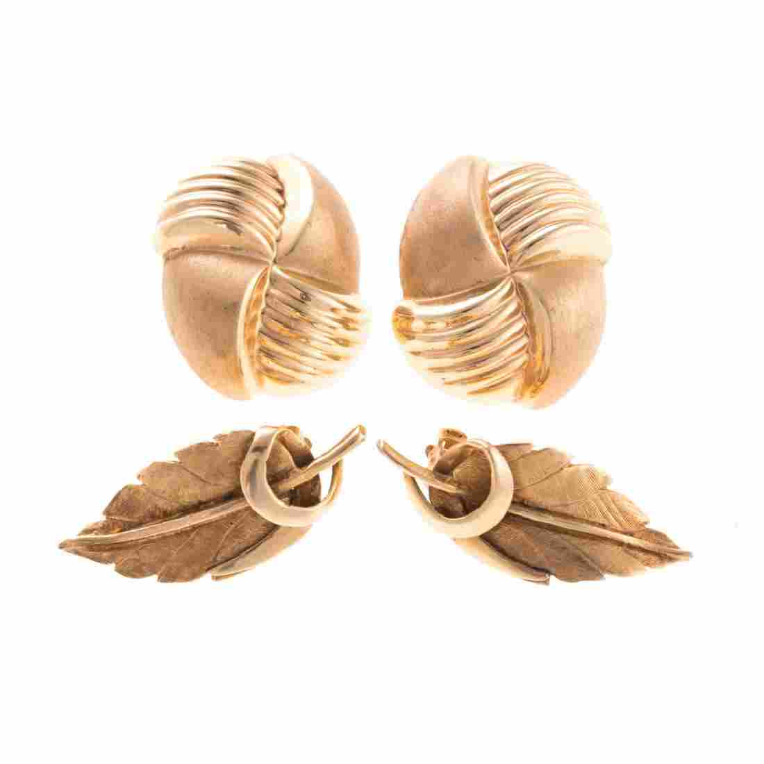 Two Pair of Lady's Ear Clips in 14K Gold
