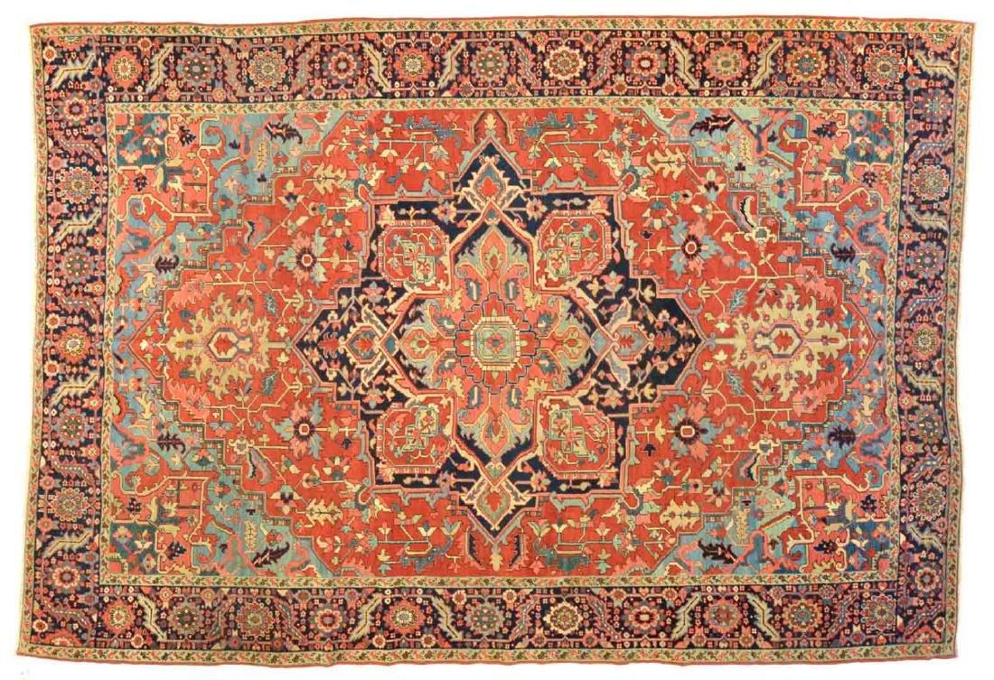 Rare Antique Serapi carpet, approx. 9.1 x 13.2