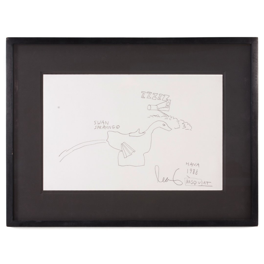 """Jean-Michel Basquiat. """"Swan Spraying,"""" graphite"""