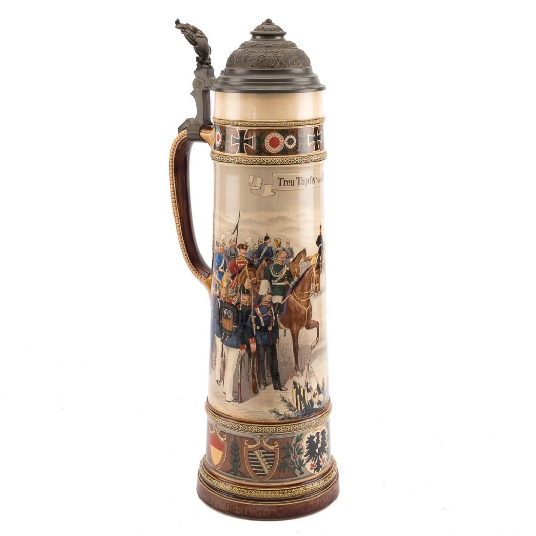 Large Mettlach regimental stein