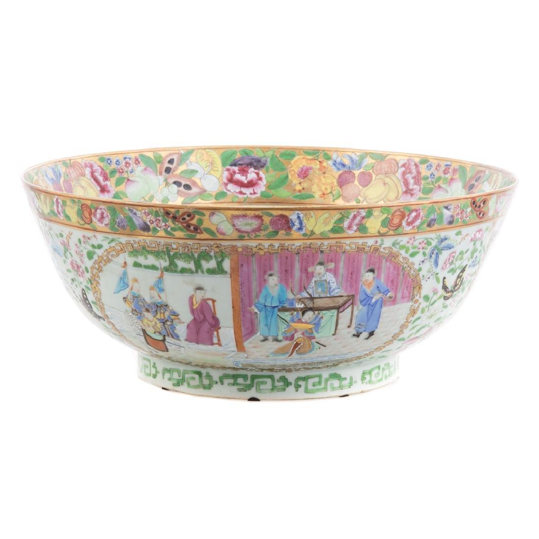 Rare Chinese Export Rose Mandarin punch bowl