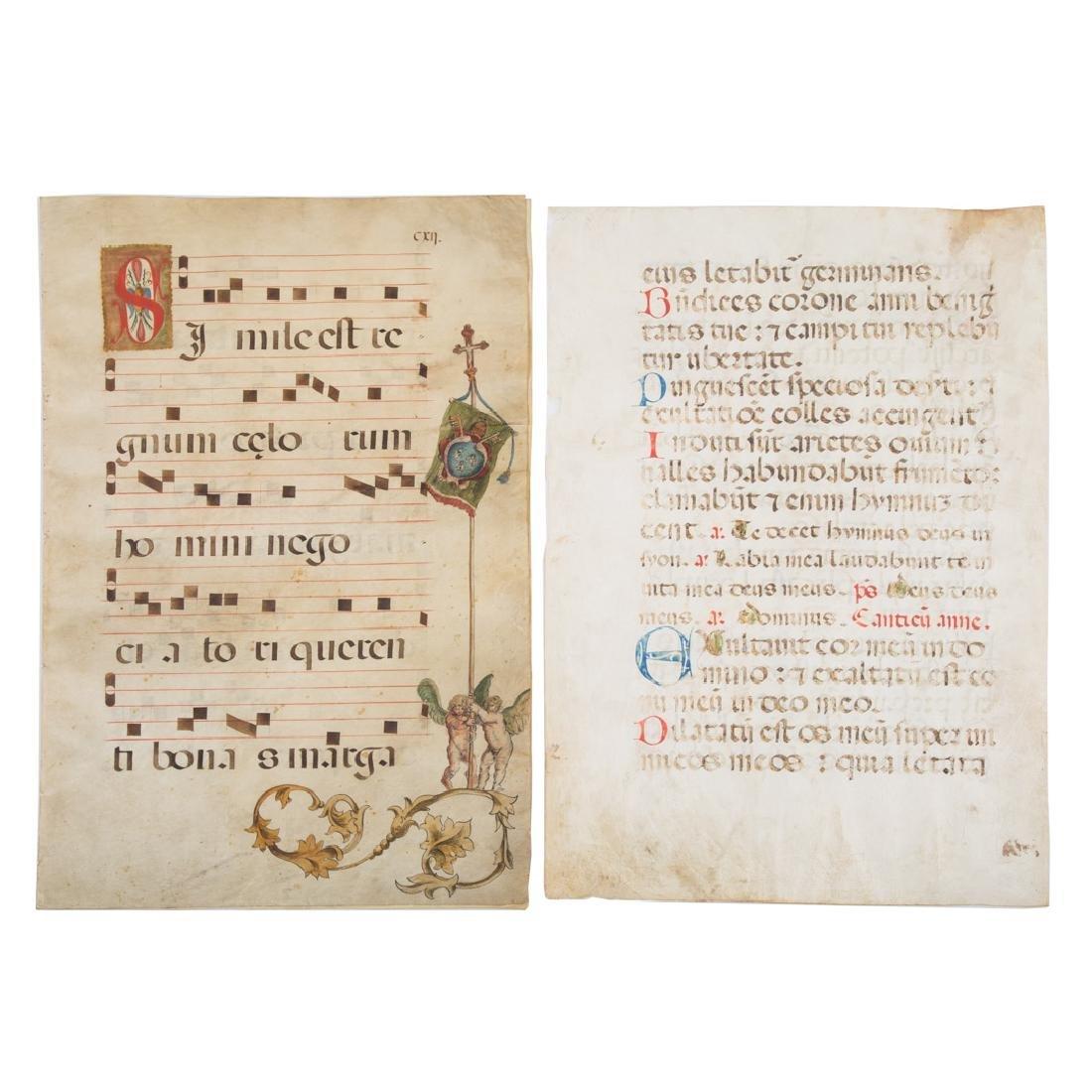 Three leaves from Italian Antiphonal, 17th c.