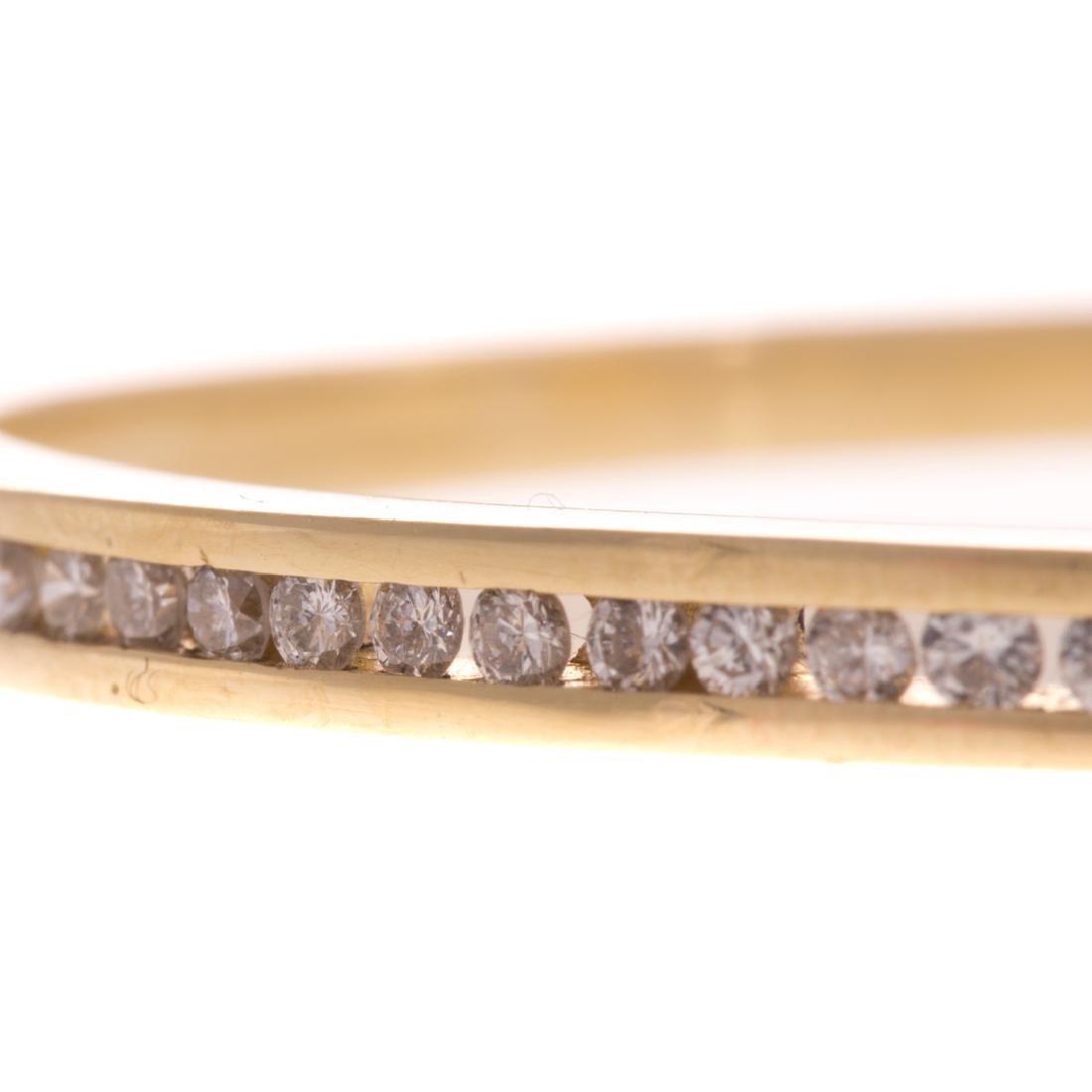 A Lady's Diamond Bangle Bracelet in 14K Gold - 2