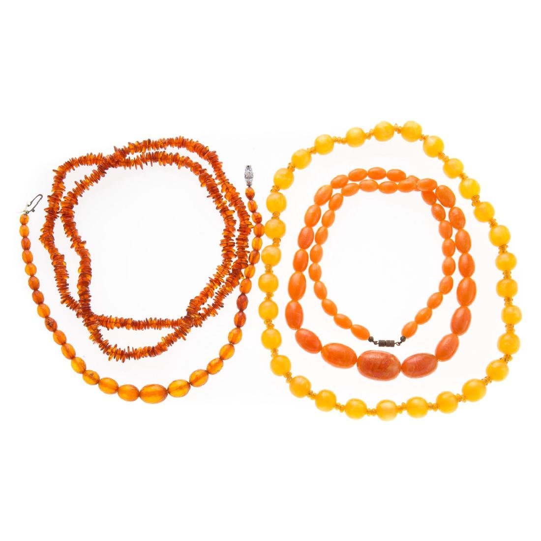 A Collection of Lady's Amber Necklaces