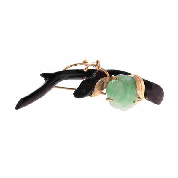 A Lady's Black Coral and Jade Brooch with 14K