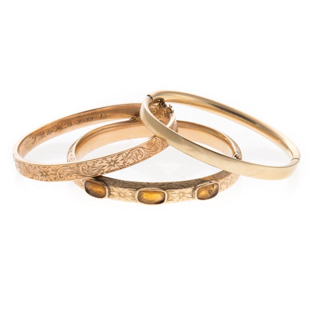 A Trio of Vintage Bangle Bracelets in Gold