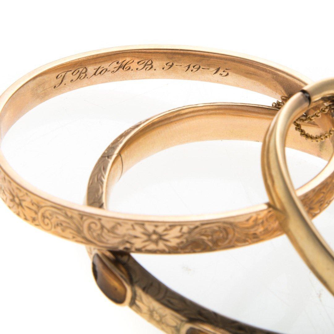 A Trio of Vintage Bangle Bracelets in Gold - 2