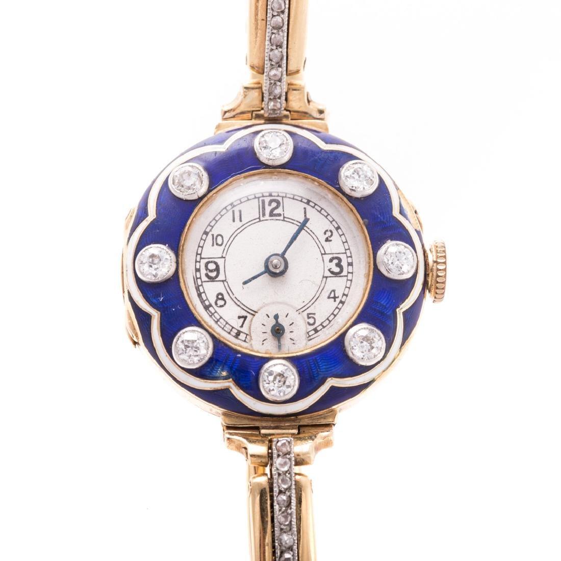 A Lady's Blue Enamel & Diamond Watch in 18K