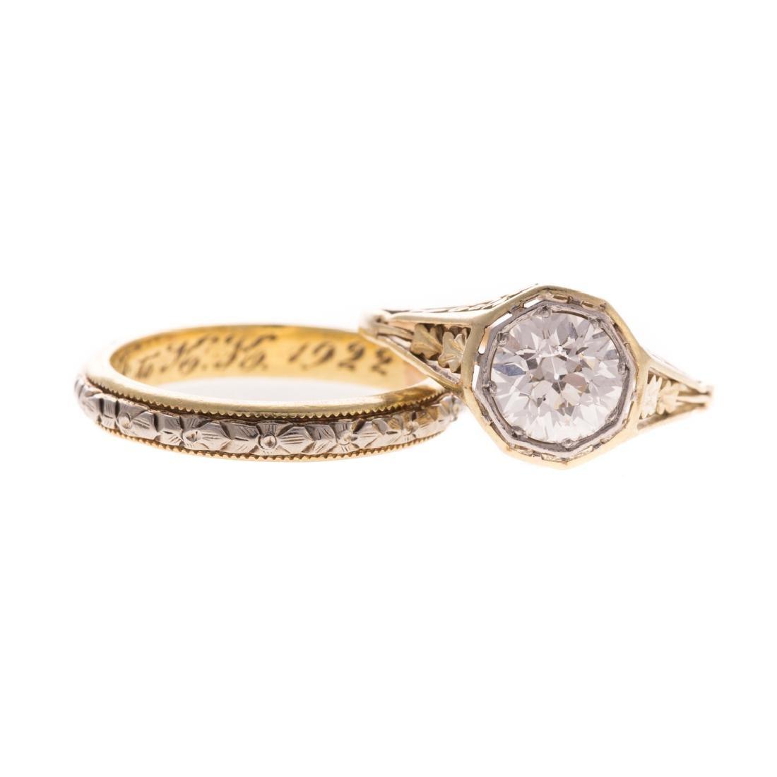 A Victorian Engagement & Wedding Ring Set