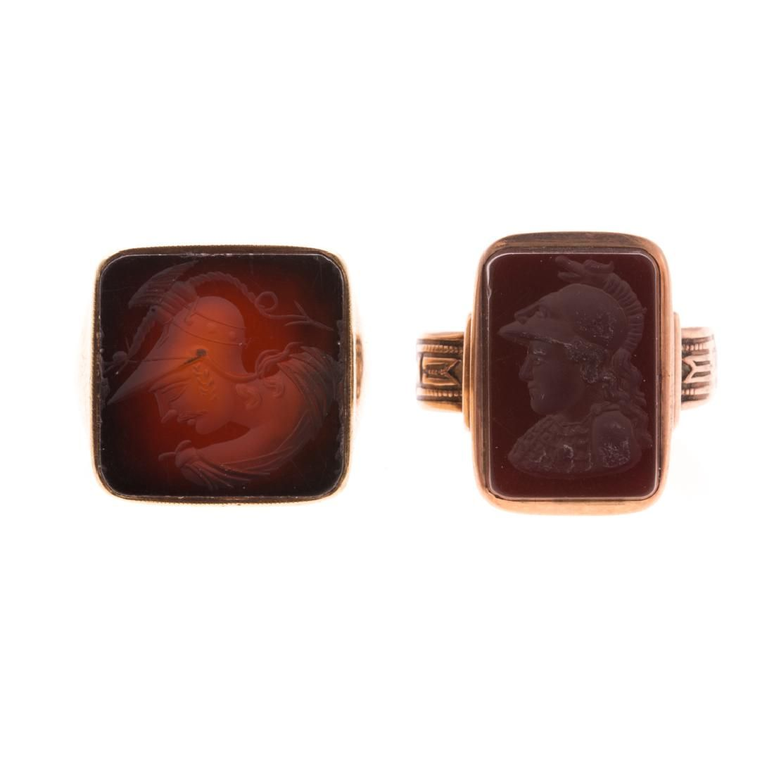 A Pair of Gent's Carnelian Intaglio Rings